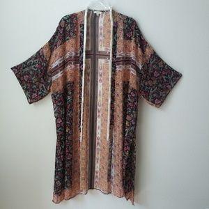 Boho Gypsy Floral long kimono with fringe trim S/M